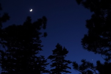 The Moon showing off a little Earthshine, with Venus low and to the right.